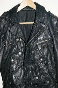 La Rocka Black Leather Skull Crossbones Motorcycle Jacket sz M RARE
