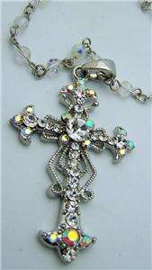 Silver P Pectoral Cross Chain Necklace Crystal Stones
