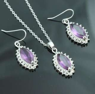 Swarovski Crystal Purple Bridal Earring Necklace Set