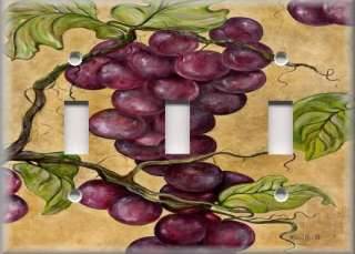 Light Switch Plate Cover   Tuscan Decor   Purple Grape Vines   Grapes