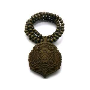 Wooden Brown Lion Pendant with 36 Inch Wood Necklace Jewelry