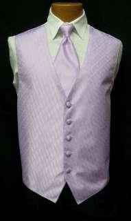 Lavender Patterned Fullback Vest & Long Tie Tuxedo Wedding Prom