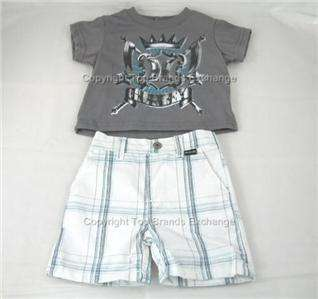 Hurley Infant Baby Shirts Short Outift White Gray Plaid Beach Summer 0