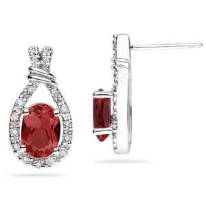 Garnet & Diamonds Oval Shape Earrings in White Gold SZUL Jewelry