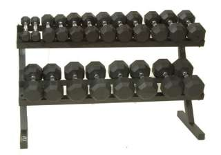 Troy VTX Rubber Dumbbells 5 to 50 Pound lb. Set w/ Rack