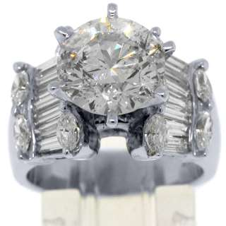 WOMENS DIAMOND ENGAGEMENT RING ROUND MARQUISE BAGUETTE CUT WHITE GOLD
