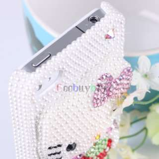 Pearl 3D Hello Kitty Case Cover for iPhone 4 Purple bow