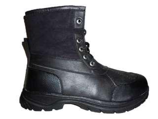 NIB MEN BLACK WINTER SNOW BOOTS 100% WATERPROOF FAUX FUR LINED FREE
