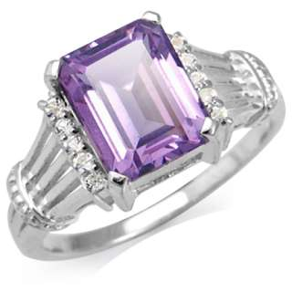 23ct. Natural Amethyst & White Topaz 925 Sterling Silver Filigree Ring