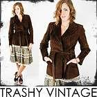 Vtg 70s FRINGE LEATHER Floral ZigZag HIPPIE Belted Dress Coat TRENCH