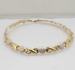 Hearts & Kisses Anklet Bracelet 14K Yellow White Gold