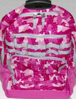 Rolling Pink Camo Backpack Camoflauge Luggage Travel