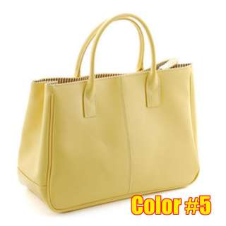 new fashion women tote briefcase bag handbag BLACK WHITE PINK YELLOW