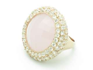 GOLD STERLING SILVER DIAMOND SET WHITE SAPPHIRE PINK QUARTZ RING GIFT