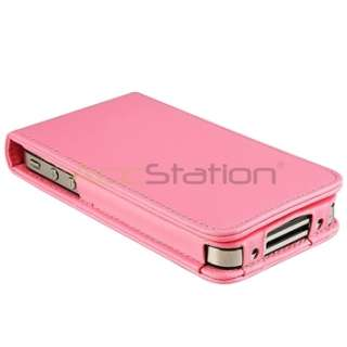 PINK LEATHER FLIP CASE POUCH COVER for iPhone 4 4S 4G 4GS 4G 4TH