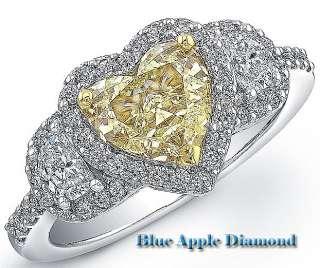Halo Fancy Yellow Heart Shape Diamond Ring GIA 18k