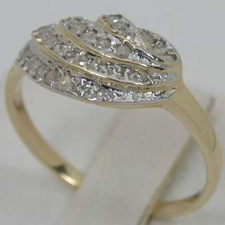 32 CARATS 14K SOLID YELLOW GOLD NATURAL WHITE DIAMOND CLUSTER BAND