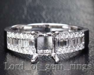 Emerald Cut 14K White Gold .65CT Diamond Ring Settings