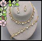 Gold & Crystal Necklace Set Event Wedding Bride Bridesmaid Jewelry New