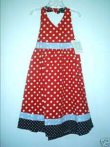 BONNIE JEAN Girls Red White Blue Sleeveless Cotton Dress Outfit 6 NEW