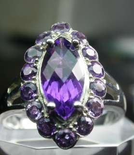925 SOLID STERLING SILVER AMETHYST LADIES RING WOW