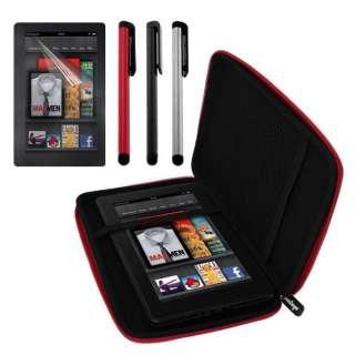 Premium  Kindle Fire Red EVA Case + Screen Protector + 3 Stylus