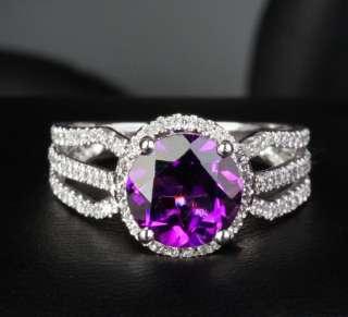 Amethyst 14K White Gold .75ct Round Diamond Engagement Ring #