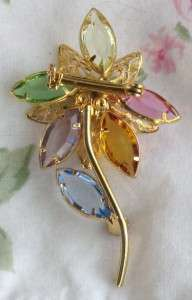 VINTAGE PASTEL FLOWER PRONG SET RHINESTONE GOLDTONE BROOCH PIN