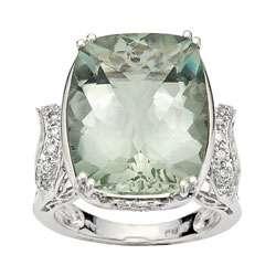 14 kt White Gold 1/5 ct Diamond Green Amethyst Ring