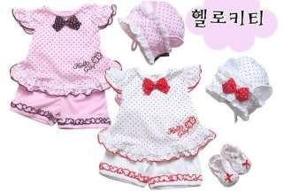 Baby girl toddler Summer Butterfly Style Short Top+ Pants+hat Set