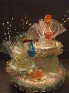 STORK BABY SHOWER CAKE TOP/TOPPERNEW/BLUE/PINK