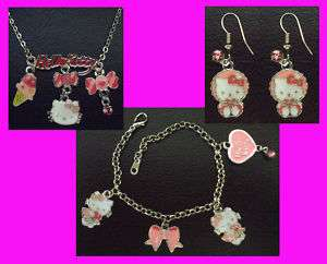 Hello Kitty Pendant Necklace + Bracelet + Earrings Girl