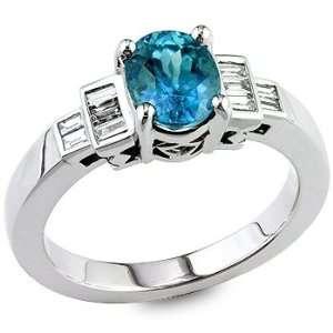 Blue zircon and white diamond gold ring. Vanna Weinberg Jewelry