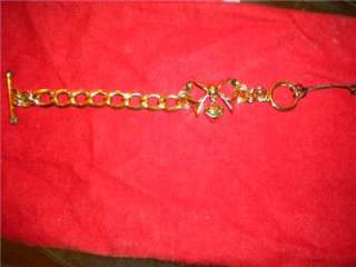 Juicy Couture Gold Bow Starter Charm Bracelet   New In Box