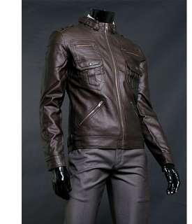 Premium Dark Brown Mens Rider Leather Jacket US Size M
