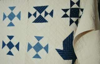 & White Sampler Hand Stitched Antiqued Quilt w/Signature