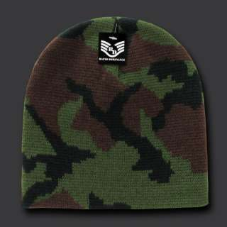 Classic style 100% Acrylic, Wool Feel Camo Beanies with a Jacquard