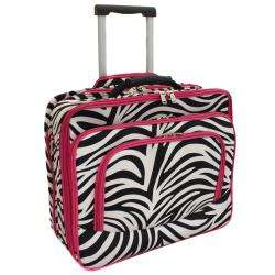 World Traveler Pink Zebra Rolling Laptop Tote