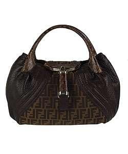 Fendi Nappa Leather Spy Bag With Zucca Logo Trim