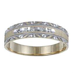 10k Two tone Gold Mens Diamond Accent Wedding Band