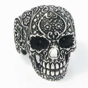 Big Heavy Black Iron Cross Skull 13th Stainless Steel Biker Mens Ring