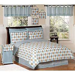 Blue and Brown Argyle Teen Bedding Set