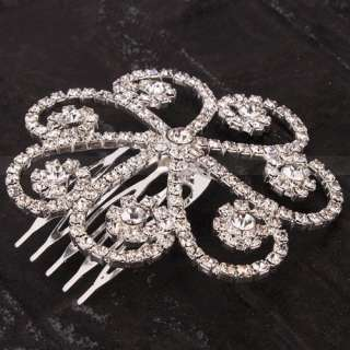 Stylish Pretty Rhinestone Flower shaped Hair Comb Pin