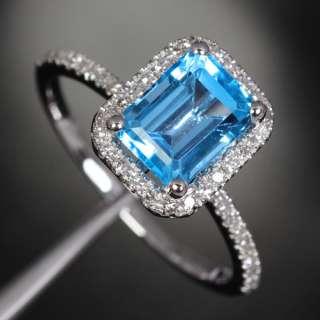 Blue Topaz .21ct Diamond 14K White Gold Halo Engagement Ring