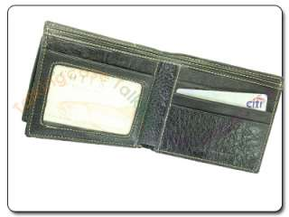 Mens Black Genuine Leather BiFold Credit Card ID Wallet