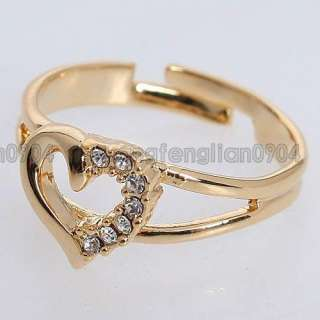 2ct Clear Crystal 18K Gold Plated Heart New Arrival Ring 230275 Free