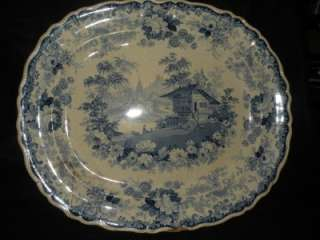 ANTIQUE SWISS SCENERY STAFFORDSHIRE BLUE & WHITE PLATTER