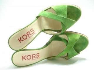 MICHAEL KORS Green Suede Platform Sandals Heels 7.5 M