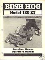 Bush Hog Zero Turn Mowers 180 ZT Operators Manual