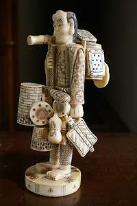 Antique Japanese Okimono Hand Carved Ox Bone Figure Figurine Traveling